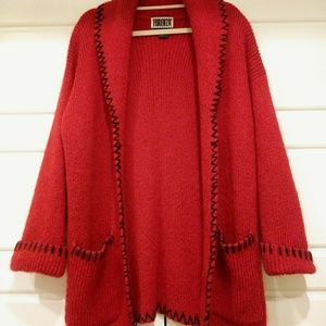 THICK KNIT LONG RED AND BLACK SWEATER JACKET